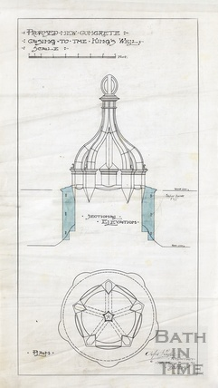 Proposed new concrete casing to the King's Well - elevation & plan. AJ Taylor January 1907