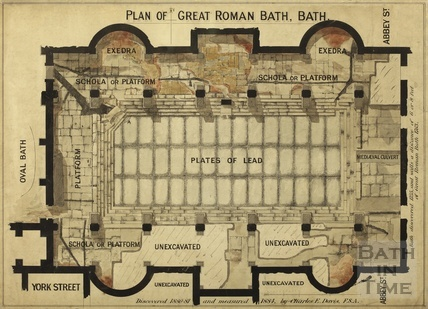 Plan of Great Roman Bath - Charles E Davies 1884