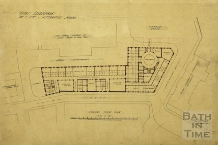 Bath Development, no.1 site, alternative scheme - ground floor plan - York Street and Kingston Buildings - A J Taylor 1913