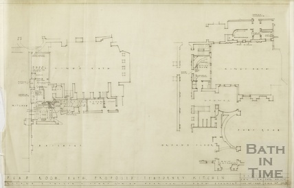 Pump Room, proposed temporary kitchen - basement, ground floor plan - DWG1502/9 - AJ Taylor & Partners November 1947