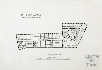 Baths development [York Street, Terrace Walks, Orange Grove] - site no.1, scheme no.3 - 1st floor plan - AJ Taylor February 1914