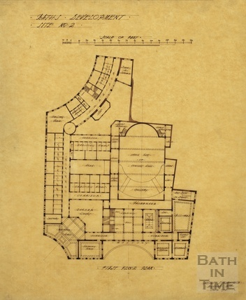 Baths development - [Grand Pump Room Hotel site, Stall Street & Bath Street] site no.2 - first floor plan - AJ Taylor June 1913