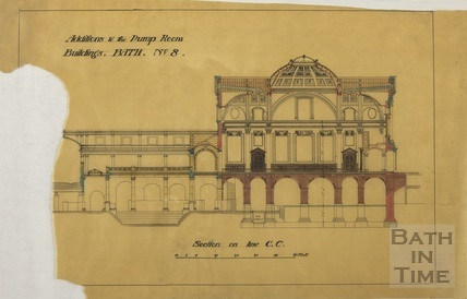 Addition to the Pump Room buildings - section across Concert Hall and Roman Baths - Scheme no.8 - A J Taylor [1920s?]