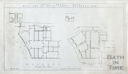 Royal Baths, west end of Bath Street - ground floor and basement plans - A J Taylor 1934