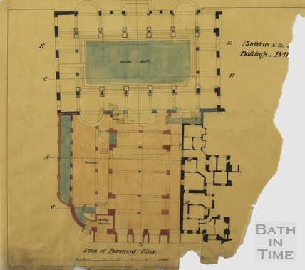 Addition to the Pump Room buildings - basement floor [Scheme no.1] - A J Taylor [1920s?]