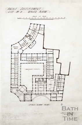 Baths development - [Grand Pump Room Hotel site, Stall Street & Bath Street] - 1st floor plan - site no.2, revised scheme - AJ Taylor August 1913