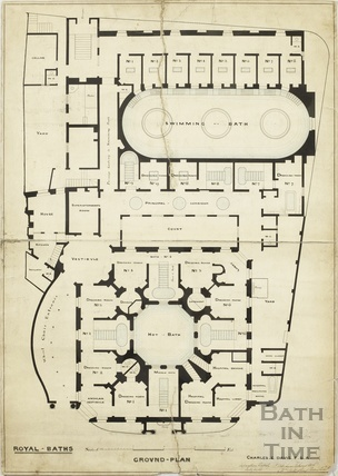 Plans of Royal Baths Beau Street Baths and Hot Baths - ground plan - Charles E Davies July 1863