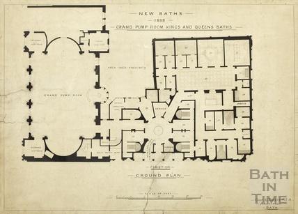 New baths 1888, Grand Pump Rooms, King's & Queen's Baths - ground floor plan - Charles E Davies pre-1913