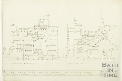 Pump Room, sketch scheme for new lavatories - basement & ground floor plan - 1502/1 - AJ Taylor & Partners February 1946
