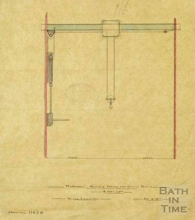 Hydraulic runner crane for chair bath ?Hot Baths - Tangyes, Birmingham, engineers 1887