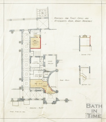Proposed new ticket office and attendant's room, Roman Promenade - ground floor plan and sections - AJ Taylor 6 May 1909