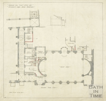 Proposed new ticket office and attendant's room, Roman Promenade - ground floor plan and sections - AJ Taylor 24 May 1909