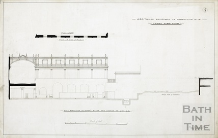 Additional buildings in connection with Grand Pump Room, no.5 - east elevation of Queen's Bath, plan - Charles E Davies 1890s?