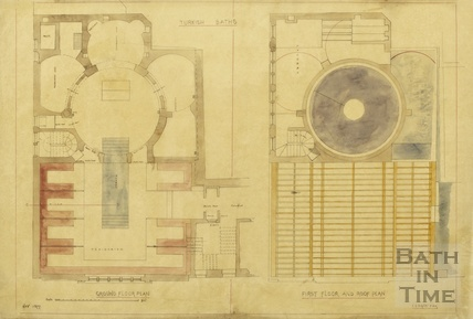 Turkish Baths Kingston Baths - ground floor, first floor and roof plan - Charles E Davis 1877