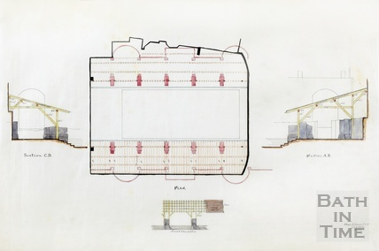 Plan, section & elevation of temporary roof covering pavement around Roman Baths - Charles E Davis 1880s