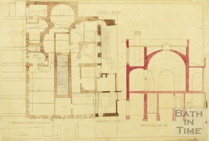Turkish Baths Kingston Baths - basement plan & section - Charles E Davis 1877