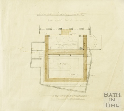 Kingston Baths - plan showing promenade to excavations - AJ Taylor 1924