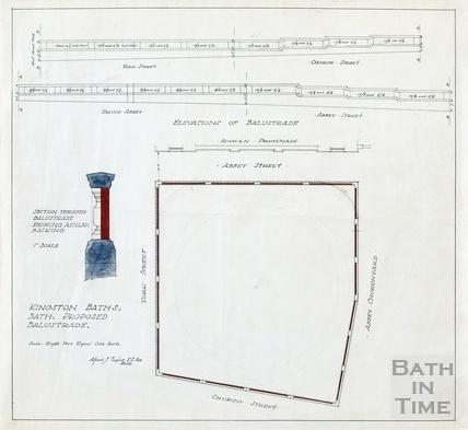 Kingston Baths - proposed balustrade - elevation, plan, section - AJ Taylor around-1923