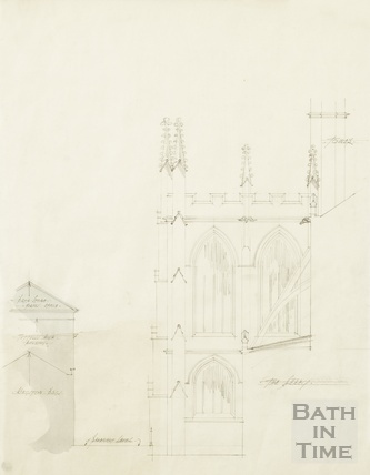 Abbey - side elevation of south transept & relationship of Kingston Buildings - AJ Taylor? 1920s