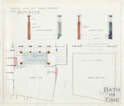 Kingston Baths - proposed balustrade - plan, section - AJ Taylor around-1923