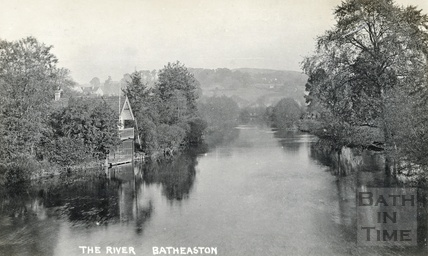 The River Avon and boathouse at Batheaston, looking East from the toll bridge c.1910