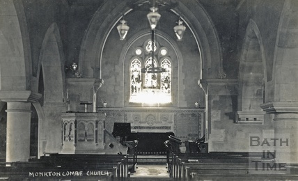 Inside Monkton Combe church c.1906
