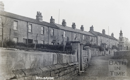 Houses in Bailbrook with the tin church in the background c.1910