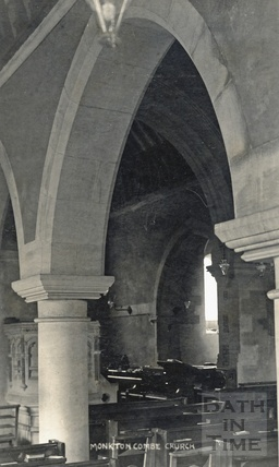 Inside Monkton Combe church c.1906