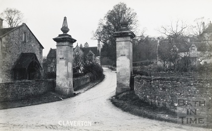 Gateposts for Claverton Manor at the junction with Claverton Hill and the Warminster Road c.1910