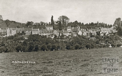 View of the rear of houses on London Road East, Batheaston from across the River Avon, posted 1921