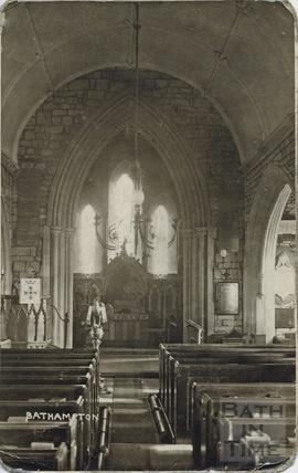 Inside St Nicholas Church, Bathampton c.1910