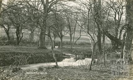 The river and weir at Shockerwick, posted 1917