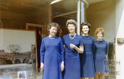 Staff from the china department at Mallory's pose outside the shop in Bridge Street c.1965