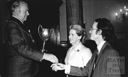 Mildred Walker and John Yapp of Mallory's meeting the Mayor of Bath 1977