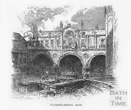 Pulteney Bridge and old weir 1864