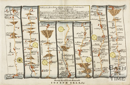 The Road from London to Bath and Wells by Thos. Gardner 1719
