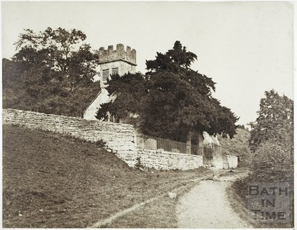 View showing tower, Charlcombe Church c.1855