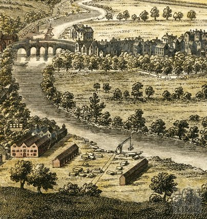 A Perspective View of the City of Bath 1758 showing Padmore's Crane and Ralph Allen's Wharf - detail