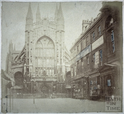 West front of Bath Abbey and Abbey Church Yard, Bath c.1855