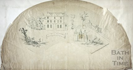 Fan view of Ralph Allen's Prior Park house and railway prior to the Building of the Mansion, Bath c.1737?