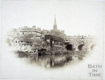Pulteney Bridge and weir, Bath c.1855