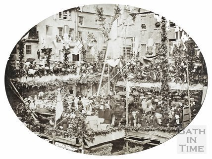 Laying the foundation stone of the Mineral Water Hospital, Bath 1859