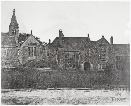 North elevation and part of chapel from the moat, Great Chalfield Manor c.1858