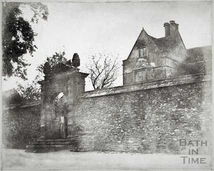 Cold Ashton Manor House, showing entrance gate c.1855