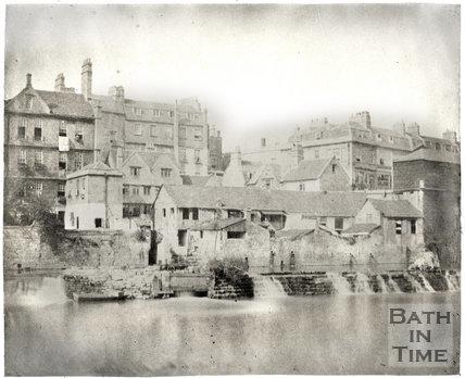 Weirs below Pulteney Bridge, Bath c.1855