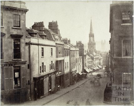 Broad Street, Bath from York Buildings looking towards St. Michael's Church c.1858
