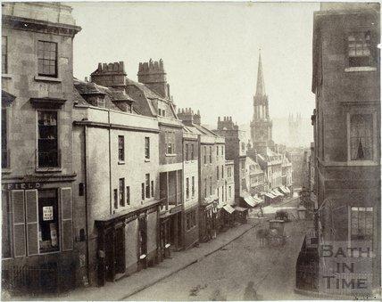 Broad Street, Bath from York Buildings looking towards St. Michael's Church c.1858