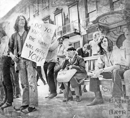Protesters gather to oppose the Buchanan Tunnel c.1966