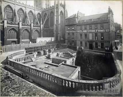 Kingston Parade and the eastern Roman Baths, Bath c.1924