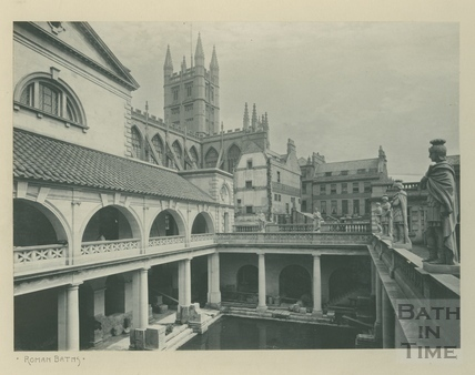North east view of Great Roman Bath, Roman Baths, Bath c.1900